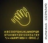 waving hand gesture emoji neon... | Shutterstock .eps vector #1323965690