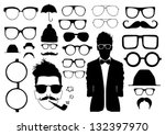 set of glasses and other... | Shutterstock .eps vector #132397970