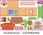 cut and glue the paper a coffee ... | Shutterstock .eps vector #1323983966