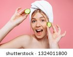 attractive cheerful woman with... | Shutterstock . vector #1324011800
