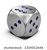 metal dice isolated on white  ... | Shutterstock . vector #1324012646