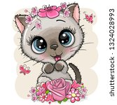 Stock vector cute cartoon siamese kitten with flowers on a white background 1324028993