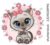greeting card cute kitten with... | Shutterstock .eps vector #1324028996