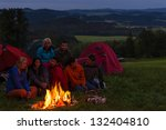 during night camping friends... | Shutterstock . vector #132404810