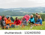 smiling young people enjoying... | Shutterstock . vector #132405050