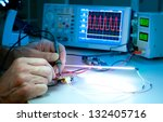 tech tests electronic equipment ... | Shutterstock . vector #132405716