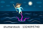 girl grabbed a tentacle | Shutterstock .eps vector #1324095740