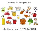 ketogenic diet vector sketch... | Shutterstock .eps vector #1324160843