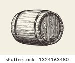 wooden oak barrel. wine  whisky ... | Shutterstock .eps vector #1324163480