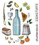 alcohol set. drawn by hand. in... | Shutterstock .eps vector #1324171973