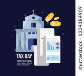 tax day with bank building and... | Shutterstock .eps vector #1324184909