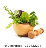 mortar with fresh herbs... | Shutterstock . vector #132422279