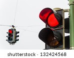 A Traffic Light With Red Light...