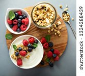 plain yougurt with granola and... | Shutterstock . vector #1324288439