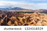 top view of rainbow mountains... | Shutterstock . vector #1324318529