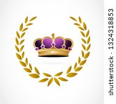 golden crown inside a laurel.... | Shutterstock .eps vector #1324318853