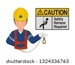 industrial worker is presenting ... | Shutterstock .eps vector #1324336763