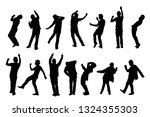 silhouette of people dancing on ... | Shutterstock .eps vector #1324355303
