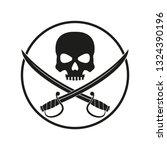jolly roger with crossed swords....   Shutterstock .eps vector #1324390196