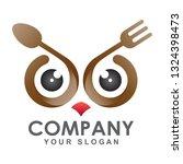 trendy cutlery logo with owl... | Shutterstock .eps vector #1324398473