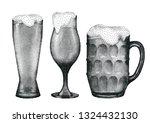 glasses of beer of three... | Shutterstock .eps vector #1324432130