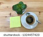 paper note  small tree and cup... | Shutterstock . vector #1324457423