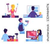 vector video bloggers content... | Shutterstock .eps vector #1324464476