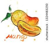 mango fruit with slices.... | Shutterstock . vector #1324483250