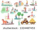 farmers working on the farm.... | Shutterstock .eps vector #1324487453