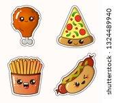 fastfood sticker set   kawaii... | Shutterstock .eps vector #1324489940