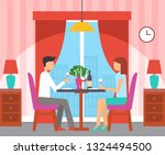 couple sitting by table in... | Shutterstock .eps vector #1324494500