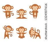 collection cartoon funny monkey ... | Shutterstock .eps vector #1324507616