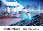 robotic cyborg hand pressing a... | Shutterstock . vector #1324532819