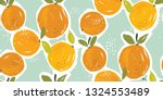 hand painted oranges fruit... | Shutterstock .eps vector #1324553489