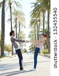 young touristic couple being... | Shutterstock . vector #132455540
