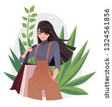 beautiful young girl in fashion ... | Shutterstock .eps vector #1324561856