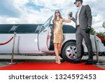 driver helping vip woman or... | Shutterstock . vector #1324592453