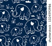 hand drawing elephants pattern... | Shutterstock .eps vector #1324593986