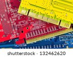 Close up of some computer microcircuit - stock photo