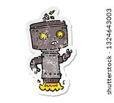 distressed sticker of a cartoon ... | Shutterstock .eps vector #1324643003