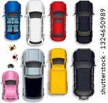 cars of different colors and... | Shutterstock .eps vector #1324650989