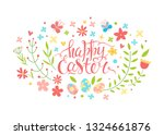happy easter vector card. hand... | Shutterstock .eps vector #1324661876