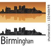 Birmingham skyline in orange background in editable vector file
