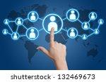 woman hand pressing social... | Shutterstock . vector #132469673