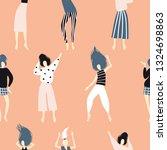 funny dancing girls seamless... | Shutterstock .eps vector #1324698863