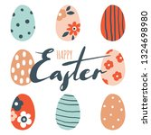 colorful happy easter greeting... | Shutterstock .eps vector #1324698980