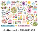 spring set  hand drawn elements ... | Shutterstock .eps vector #1324700513