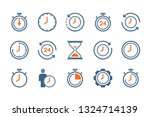time and clock flat icons....