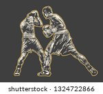 boxing. two boxers are fighting ...   Shutterstock .eps vector #1324722866