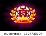 casino banner with poker chip...